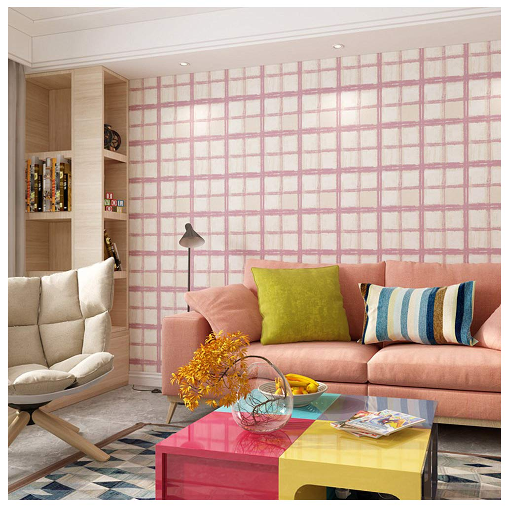 Blocky Green Prepasted Elegant Grids Wallpaper Removable Peel-and-Stick Paint Wallpaper Self Adhesive Wallpaper Wall Decor Contact Paper Pink Blooming Wall