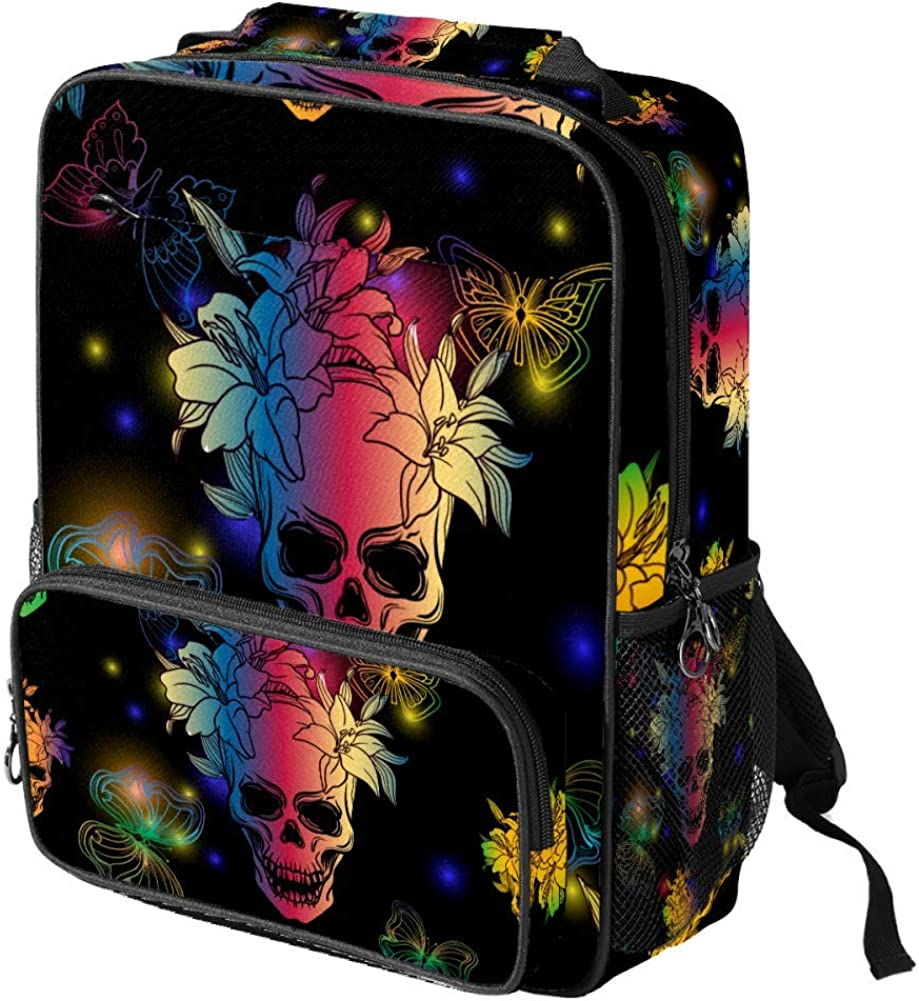Rainbow Boho Chic Butterflies Skulls And Lily Flowers School Backpack Laptop Backpacks Casual Bookbags Daypack for Kids Girls Boys and Women