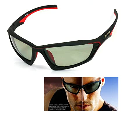 e2d41d8c69f FARROVA - KD015 POLARIZED Sports Sunglasses with Smart Photochromic Lenses  (Black Grey Lenses