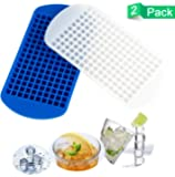 Mini Ice Cube Trays Mini Ice Cubes Food Grade Silicone Tray Mold Easy Release 160 Frozen by niceCube Perfect for Our Blender Bottle -Clear 2 Pack