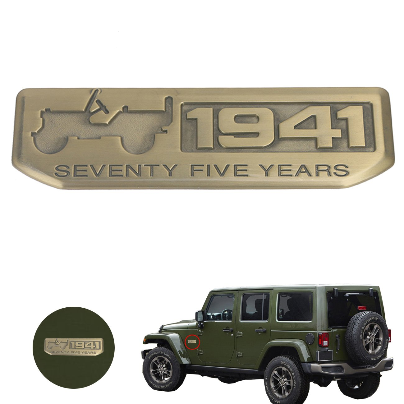 3D Bronze Metal Anniversary KeyChains with 1941 Seventy-Five Years for Jeep Espear