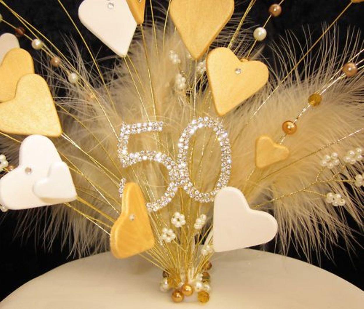50th Birthday Golden Wedding Anniversary Gold and Cream Heart Cake ...
