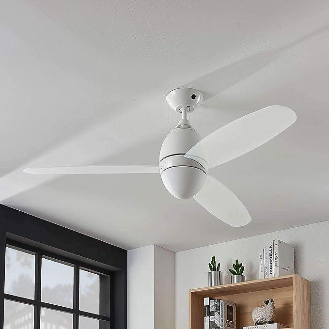 Ventilador de techo con lámpara Piara (Moderno) en Blanco hecho de Plástico e.o. para Dormitorio (2 llamas, E27, A ...