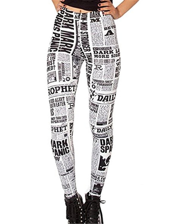 dc51040feffa4 Amazon.com: DAHUA Women's Designed Digital Print Newspaper Pattern Sexy  Stretch Leggings(Off-White): Clothing