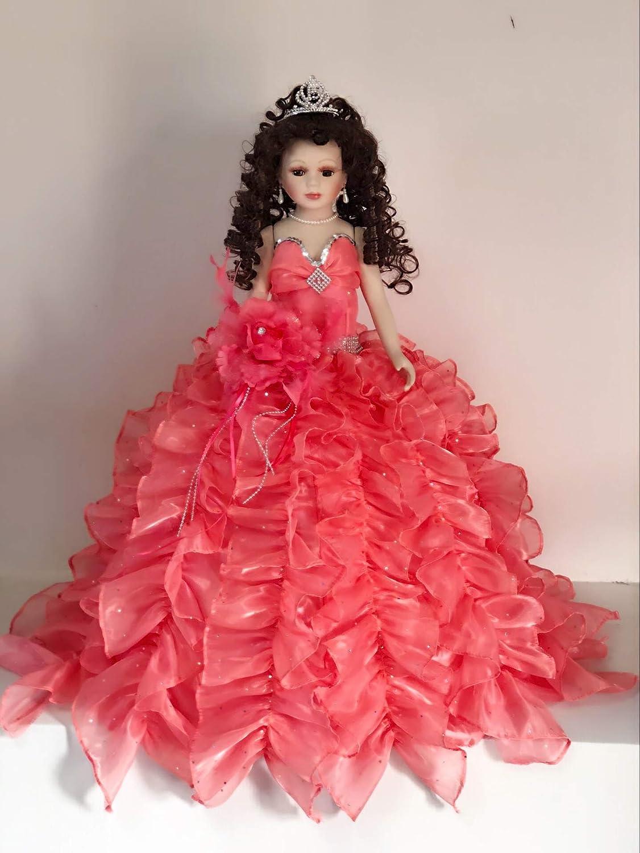 Jmisa 24  Umbrella Porcelain Dolls Quince Anos Coral