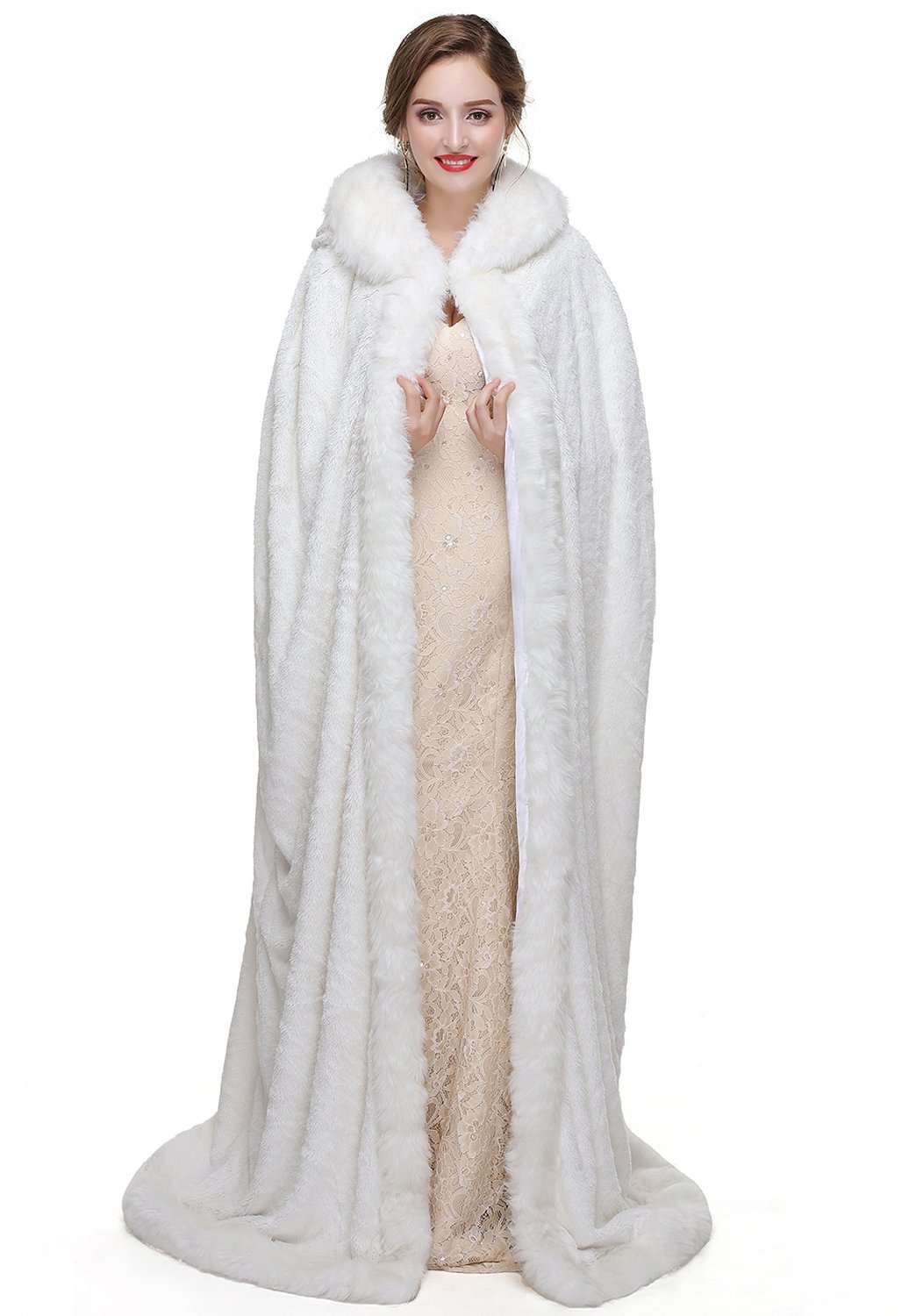 Zechun Women's Winter Hooded Cloak Wedding Bridal Christmas Fur Shawls Coat-4XL