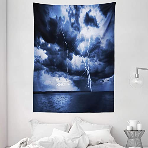 Ambesonne Nature Tapestry, Majestic Sky View with Huge Rain Clouds All Over The Sea and Vibrant Storm Rays Print, Wall Hanging for Bedroom Living Room Dorm, 60 X 80 , Blue