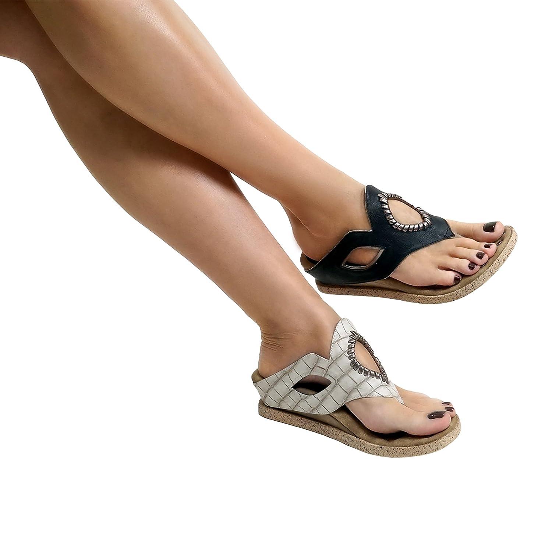 Modzori Lirah Women's Low Wedge Reversible Sandal B07BVGSSH8 7 B(M) US|Black/Bone