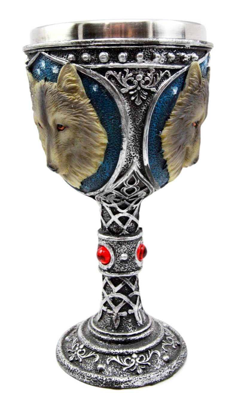 Atlantic Collectibles Large Magical Celtic Blue Remus Ancient Gray Wolf Goblet Chalice Cup Figurine 8oz