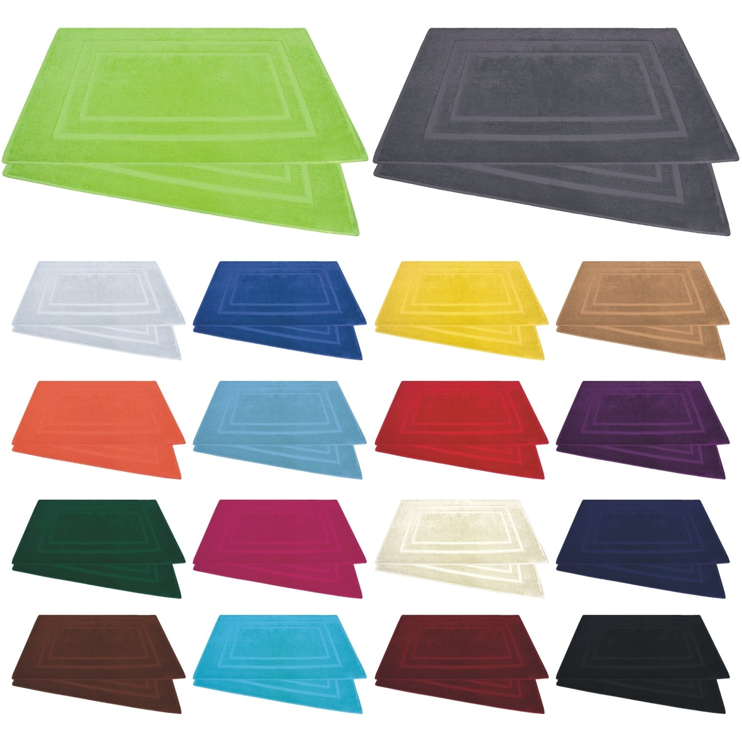 Bath Mats in Various Colours, Cotton, 800 gsm, 50 x 80 cm, Pack of 2 or 4, 100 % Cotton, black, Pack of 2 800 gsm 50 x 80 cm Bettenpoint