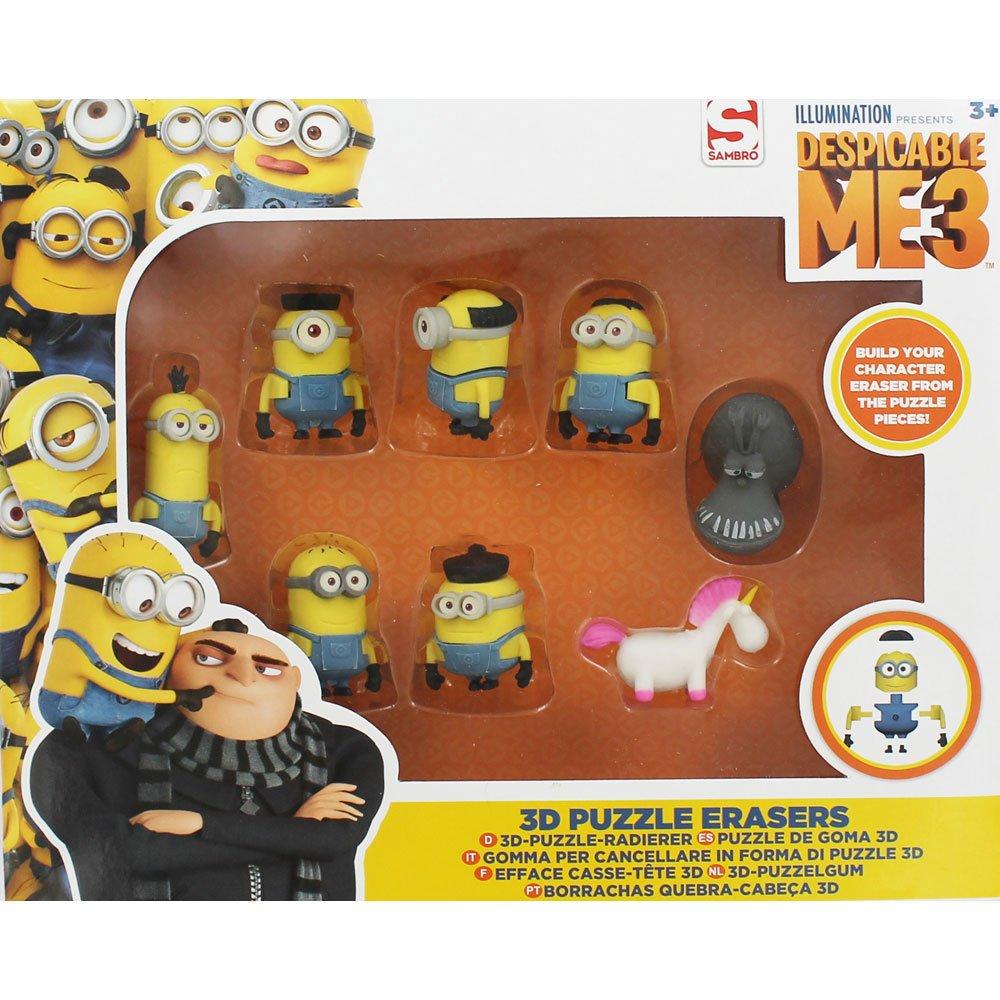 Despicable Me 3 Minions 3D Puzzle Erasers 8 Piece Set