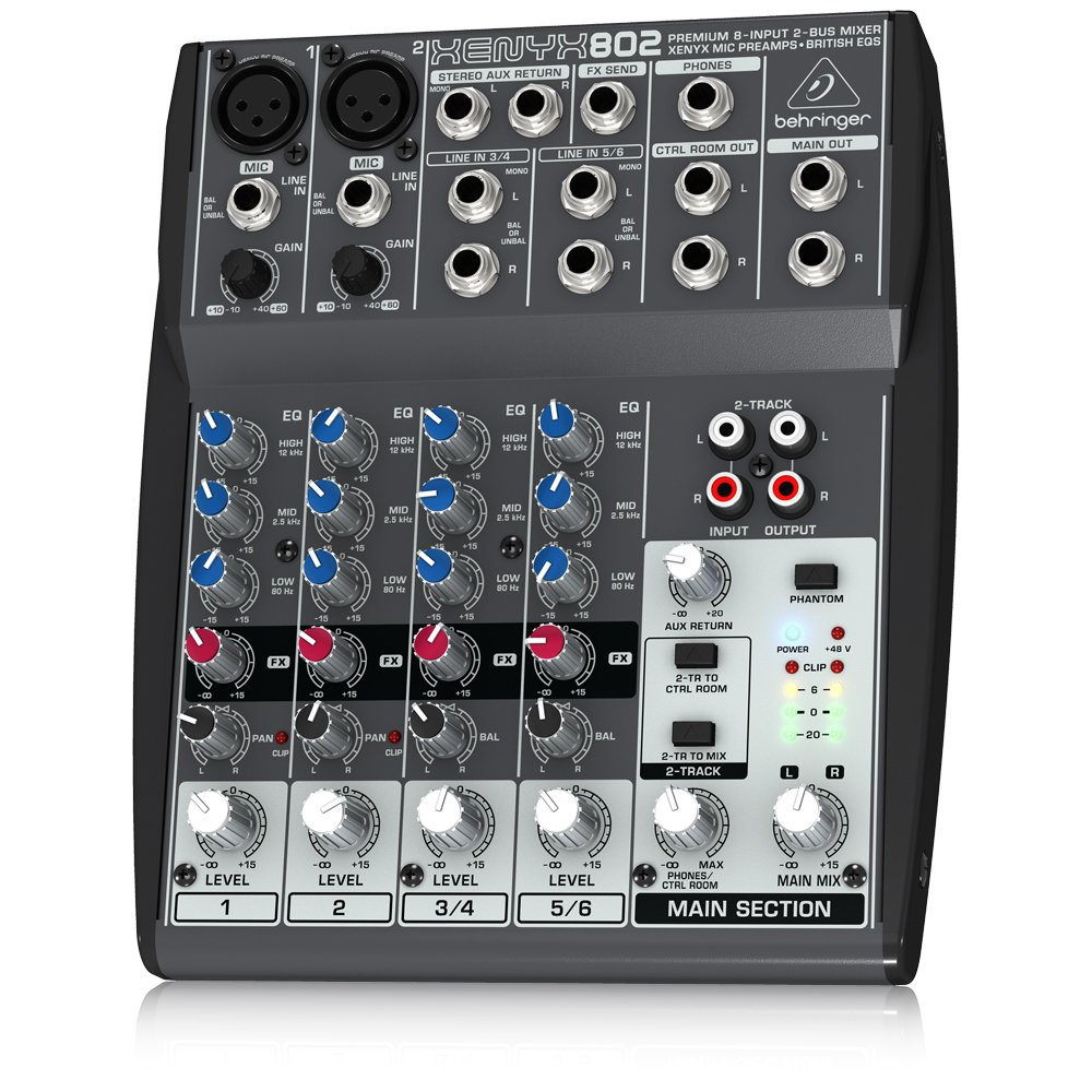 Behringer Xenyx 802 Premium 8-Input 2-Bus Mixer with Xenyx Mic Preamps and British EQs by Behringer