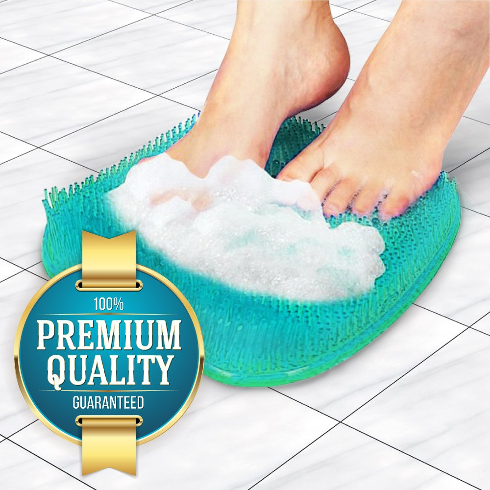 Eutuxia Shower Foot Massager Scrubber Cleaner Pad for Bathroom Floors & Bathtubs. Exfoliate while Improving Blood Circulation & Reducing Pain on Your Feet. Anti-Slip with 128 Suction Cups. Hangable.