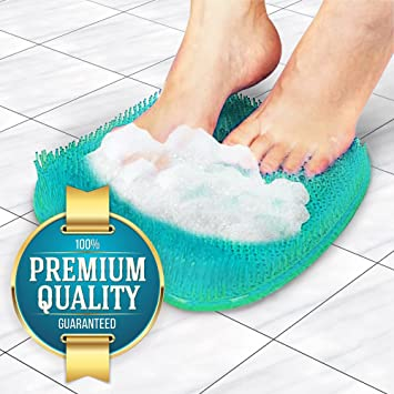 Eutuxia Shower Foot Scrubber Massager Cleaner And Acupressure Mat With  Suction Cups U0026 Soft Firm Bristles