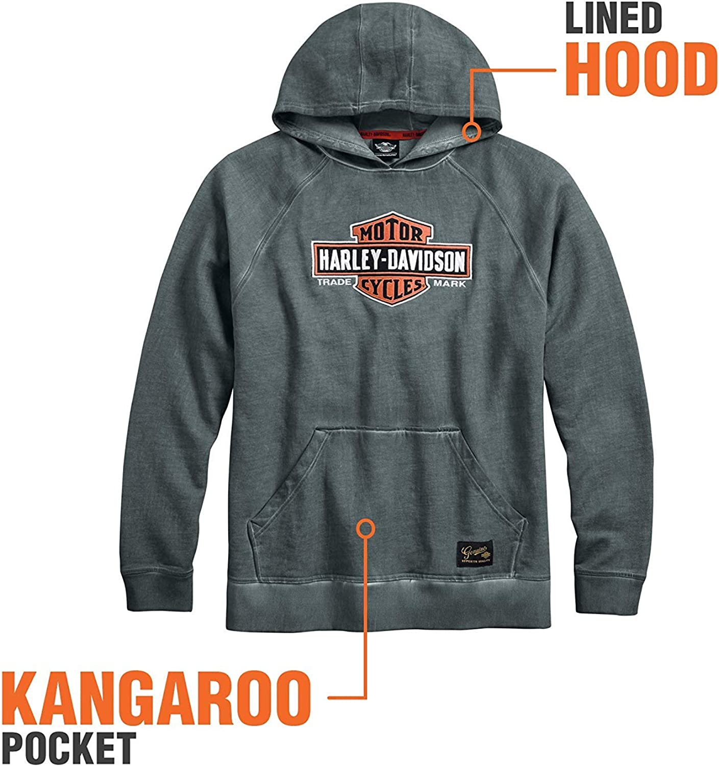 HARLEY-DAVIDSON Official Mens Genuine Classics Pullover Hoodie Grey