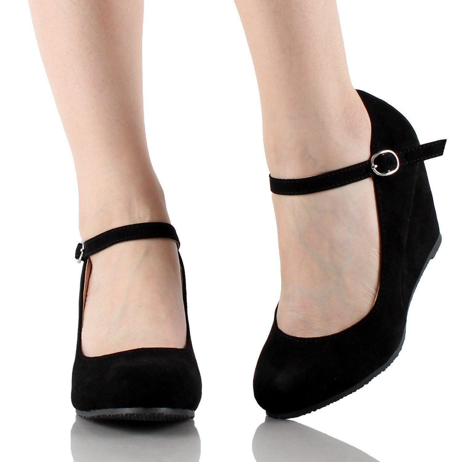 Womens Wedge Pumps Mary Jane Ankle Strap Slip on Low Heel Wedge Shoes