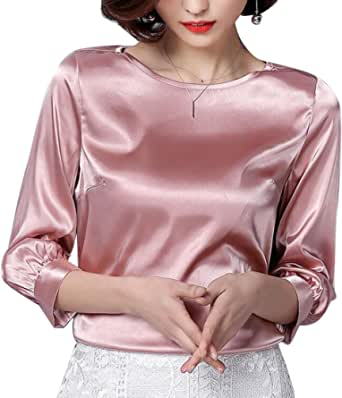 Abeaicoc Women's Elegant Stain Silk Solid Color Long Sleeve Shirt Blouse