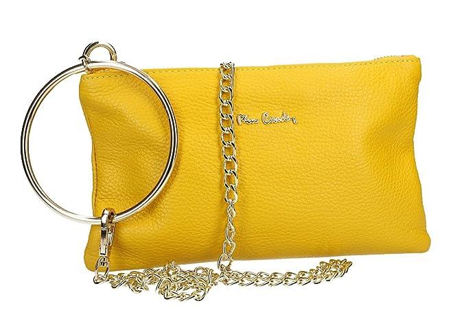 cf4c1c3f89 Pierre Cardin Borsa donna a tracolla giallo pochette pelle MADE IN ITALY  VN2289: Amazon.it: Abbigliamento