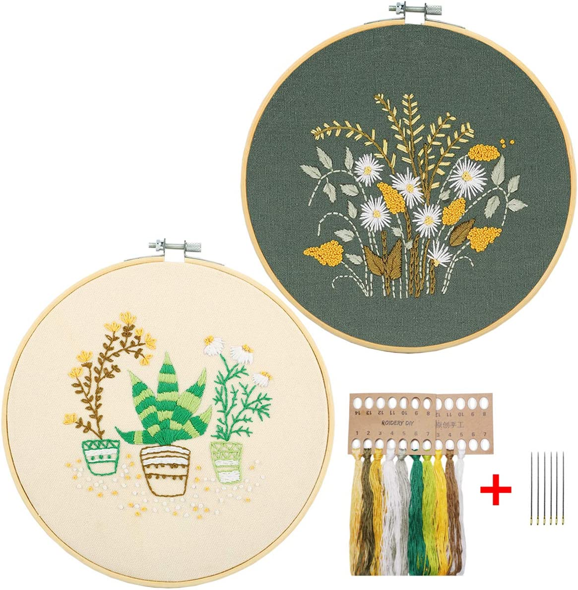 Color Threads and Tools Needlepoint Kits Embroidery Starter Kit with Pattern Cross Stitch Kit Include Stamped Embroidery Clothes with Floral Pattern Cactus Plastic Embroidery Hoops