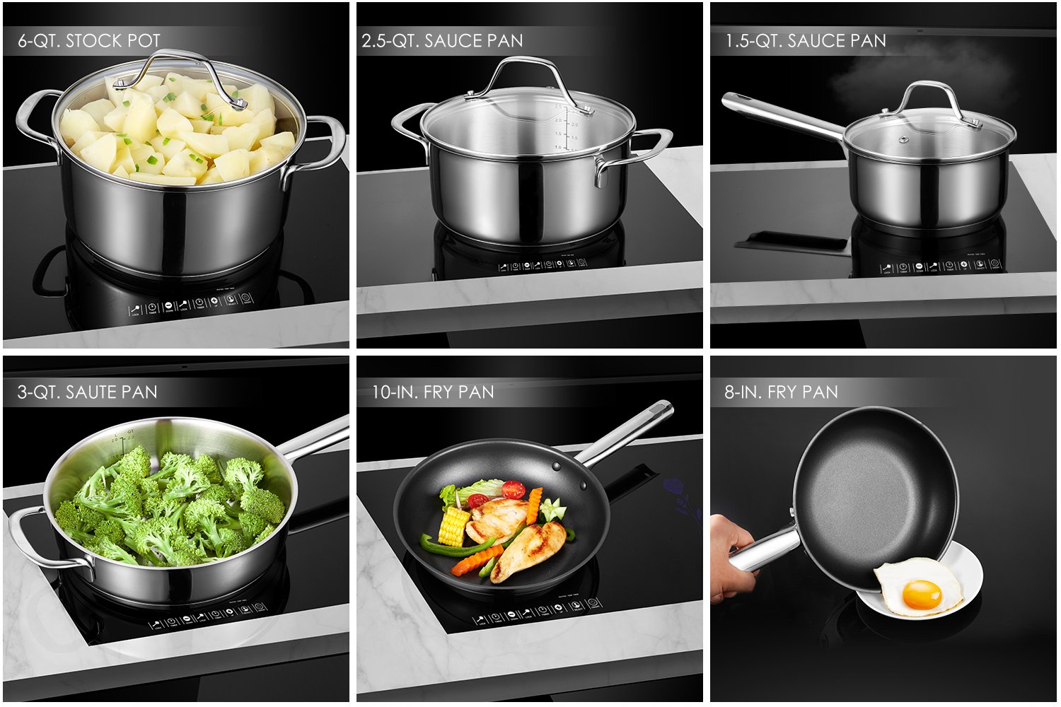 Deik Cookware Set, Kitchenware Set, MultiClad Pro Stainless Steel 12-Piece Pots and Pans Set, Rustproof & Oven-Safe Cooking Pots, PFOA Free & Riveted Handles with a Bonus of Oven Mitts by Deik (Image #6)