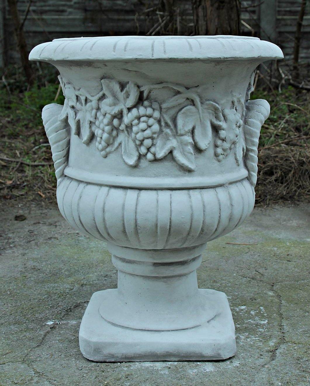 Pflanzschale Weintrauben / weiß mit Schattierungen (B63), Pflanzgefäß aus Steinguss, Höhe: 49 cm, Gewicht: 35 kg