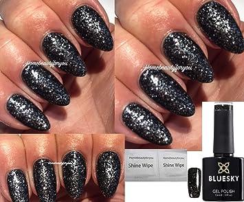 Bluesky 80633 Starstruck Dark Diamonds Black And Silver Glitter Nail