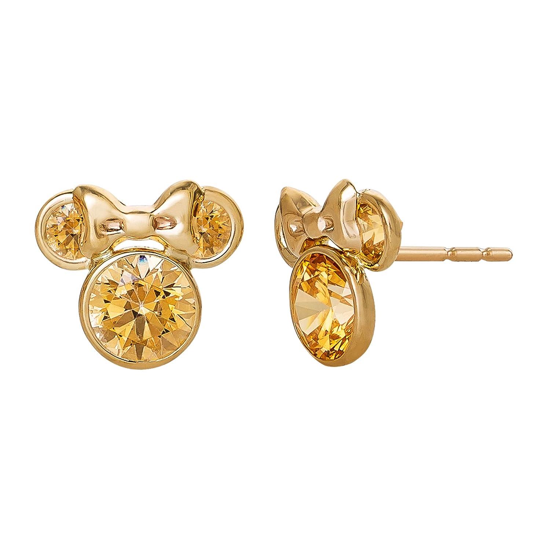 2bdb4792c Amazon.com: Disney Minnie Mouse 10K Gold Birthstone Stud Earrings, November  Amber Orange Cubic Zirconia; Mickey's 90th Birthday Anniversary: Jewelry