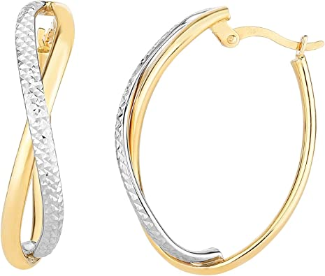 Children Jewelry 14K Yellow Or White Gold Diamond Cut Hoop Earrings