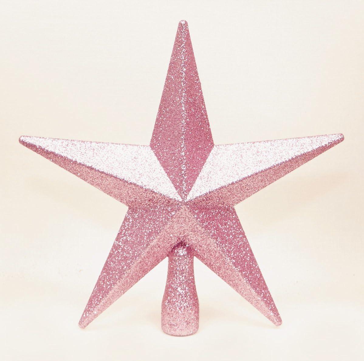 Rose Christmas Tree Top Star Topper Glitter finition 20cm