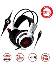 KLIM™ Puma - USB Gamer Headset with Mic - 7.1 Surround Sound - Very Audio - Integrated Vibrations - Perfect for PC and PS4 Gaming White [ New 2019 Version ]