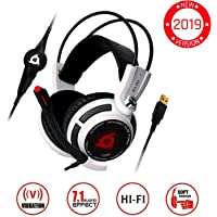 ⭐️KLIM™ Puma - USB Gamer Headset with Mic - 7.1 Surround Sound - Very High Quality Audio - Integrated Vibrations - Perfect for PC and PS4 Gaming White [ New 2019 Version ]