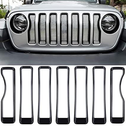 Front Grille Inserts Covers Grill Guard Trim For 2018 2019 Jeep Wrangler JL Sport Sports
