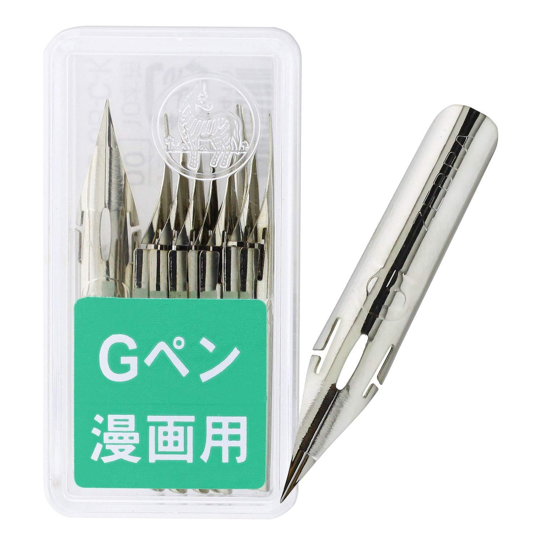 Zebra Comic G Model Chrome Pen Nib, 10 Nibs (1 Pack) (PG-6B-C-K)