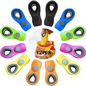 12 Pcs Chip Clips Magnetic, Chip Clips Bag Clips Food Clips, Kitchen Clips Magnetic Clips for Refrigerator Food Storage Home Kitchen Office School Supplies (Multicolor)