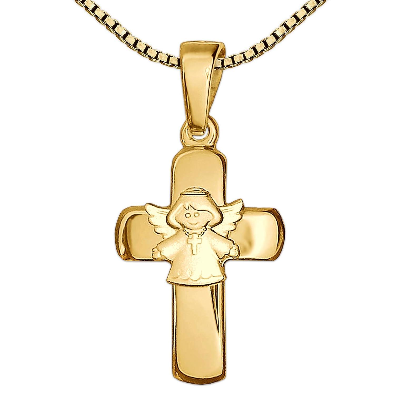 Clever Schmuck Set Goldener Anhänger Kreuz 15 mm glänzend mit aufgesetztem Kinderengel matt 333 GOLD 8 KARAT und vergoldeter Kette Venezia 42 cm im Etui ahg946-v42verg