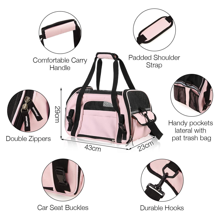 hasta 3kg Louvra Capazo del Perro Portador del Perro Bolsa del Perro para Viaje que Se Permite para Aerol/ínea Color Rosa