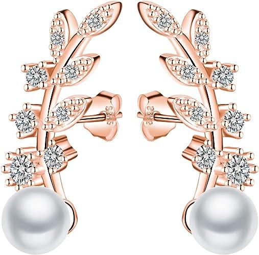 Elegante Pendientes Trepadores Color Oro Rosa Plata 925 Pendientes Perla Forma en Hojas Idea Regalo para Madre y Novia