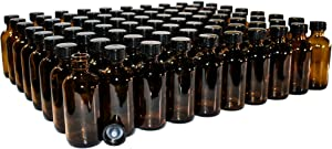 (80 Pack) 2 oz. Amber Boston Round with Black Poly Cone Cap