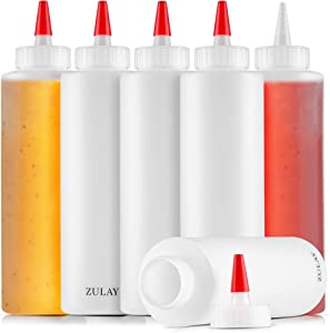 Zulay 6 Pack Condiment Squeeze Bottle - 17oz Plastic Squeeze Bottles With Caps - BPA Free Sauce Bottle With Wide Mouth & Small Pointed Nozzle for Ketchup, Mustard, Olive Oil, Glue, and More