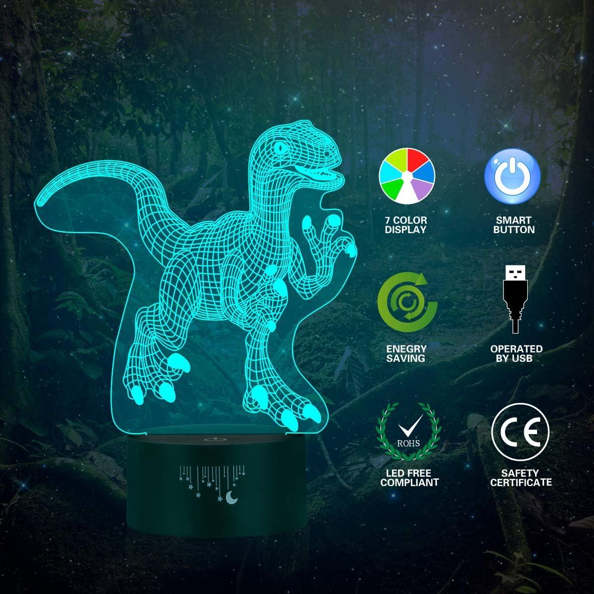Luz de la noche 3D El mejor regalo de los ni/ños 7 colores de iluminaci/ón de escritorio t/áctil con USB Juguetes de dinosaurios para Muchachos L/ámpara LED para ni/ños