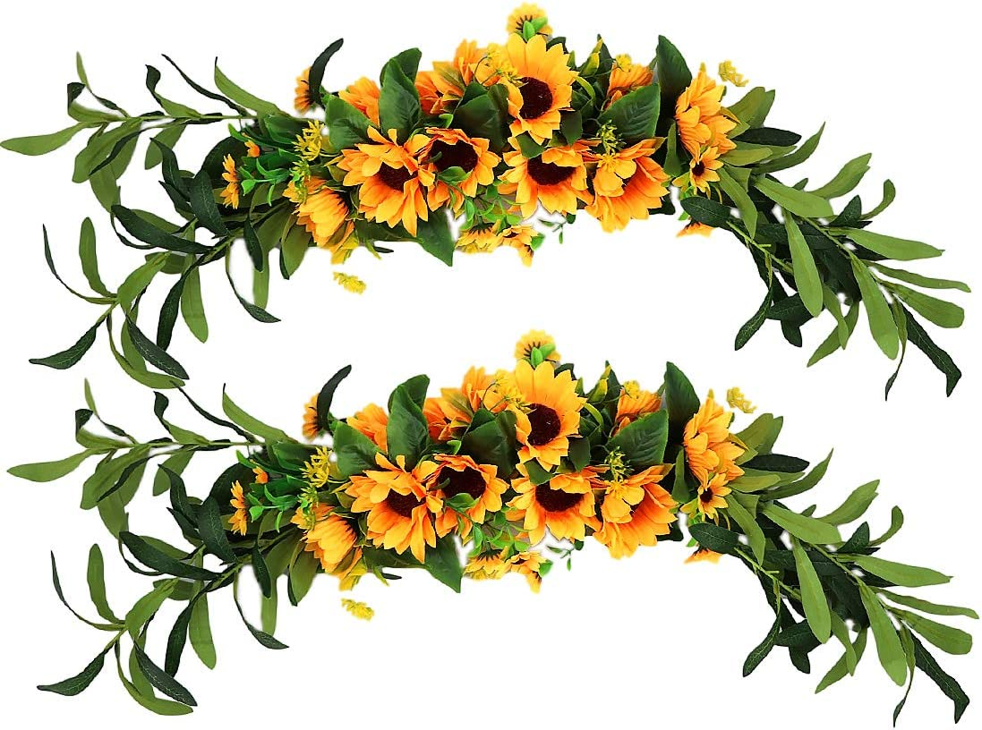 N / A 2PCS Artificial Sunflower Swag Silk Handmade Swag Flowers 23'' Handmade Swag for Table Home Office Wedding Arch Party Decor,Yellow