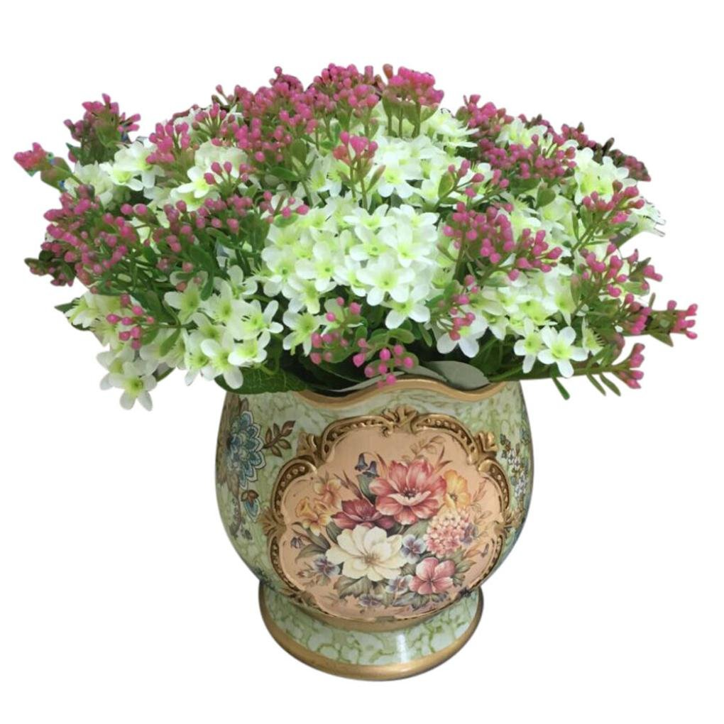 Coloré(TM) Feuille artificielle Rose Faux Soie Artificielle Fleur De Mariage Nuptiale Bouquet Décor À La Maison 72 Tête (Bleu ciel)