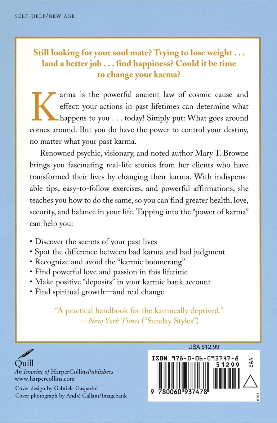 Amazon the power of karma how to understand your past and amazon the power of karma how to understand your past and shape your future 9780060937478 mary t browne books fandeluxe Gallery