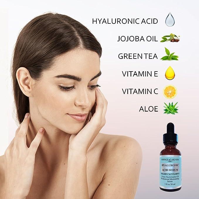 Suero de ácido hialurónico para rostro y cuello por Essence of Arcadia, Vitamina C de fuerza profesional y suero facial antienvejecimiento de vitamina E, ...