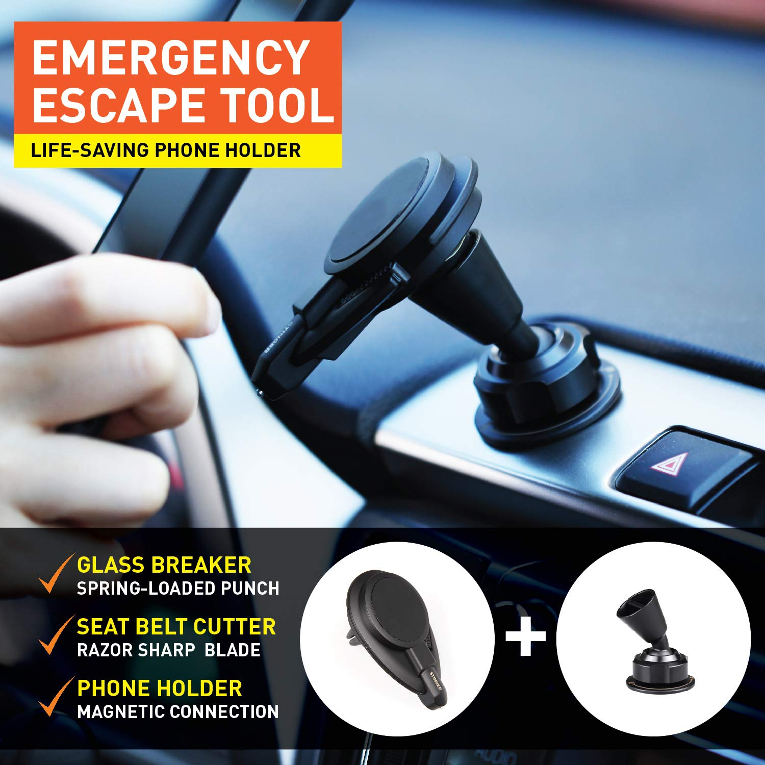 Designed in USA Black 2 pcs combo Seat belt Cutter Magnetic Vent Mount Phone Holder Ztylus Stinger Car Emergency Escape Tool: Multi function Life-Saving Rescue Spring Loaded Window Breaker Punch