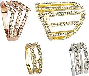 """SIX """"Basic 4 Ringe in verschiedenen Größen, Silber, Gold und roségold mit vielen Glitzer Steinen, Damen Ring, Halbfingerring, Mini Ring,Set (487-751)"""