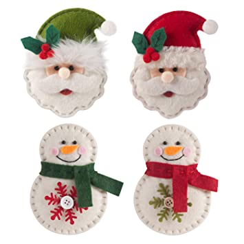 wholesale dealer ebd5b 97482 GMOEGEFT Handmade Christmas Felt Hanging Ornaments, Santa Clause and  Snowmen Holiday Home Decorations, Party Favors (Set of 4)