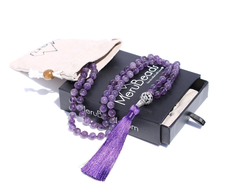 Premium Mala Beads Necklace - Mala Necklace - Japa Mala - Buddha Necklace - Buddhist Prayer Beads - Tassel Necklace - 108 Mala Beads Meditation - MeruBeads Necklace