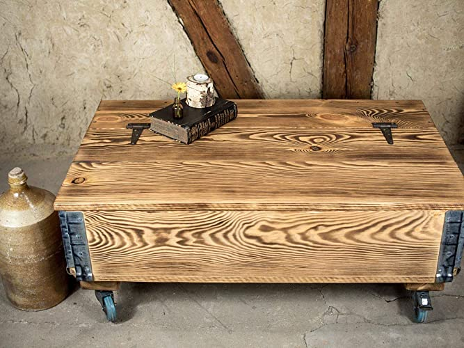 Industrial Truhentisch Auf Rollen Lounge Tisch Loft Stil