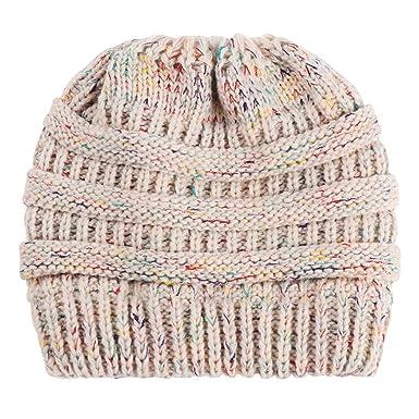 0a4f5ab26 Zoylink Women's Ponytail Beanie Hat Elastic Knitted Hat Beanie Cap ...